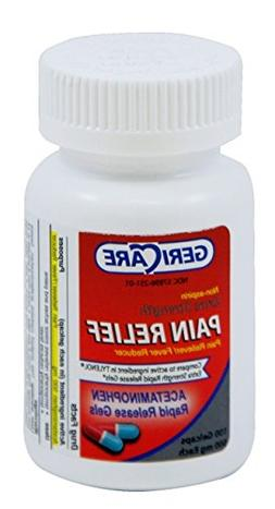100 Gelcaps Rapid Pain Relief Acetaminophen non aspirin 500m