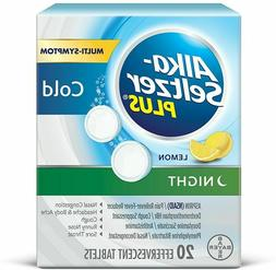 2 Alka-Seltzer Plus Night Cold Effervescent, Lemon 20 ea