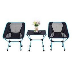 Besplore 2 Chairs + 1 Table Lightweight Portable Folding Cha
