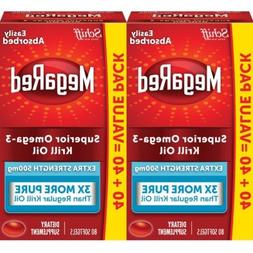 2 Pack MegaRed 500mg Extra Strength Omega-3 Krill Oil, 80 so