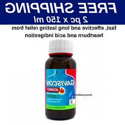 2 x Gaviscon Advance Liquid 150ml For Gastric,Stomach Wind &