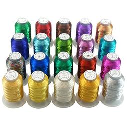 New brothread 20 Assorted Colors Metallic Embroidery Machine