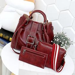 3Pcs Retro Women's Pure Color Leather Shoulder Bags Handbag+