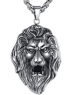 LineAve Men's Stainless Steel Extra Large Lion Pendant Neckl