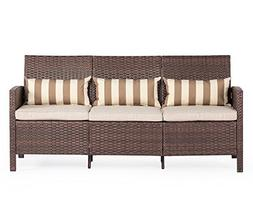 Solaura Outdoor Sofa Brown Wicker Patio Furniture  Garden Pa
