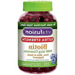 Vitafusion Extra Strength Biotin Gummies 5000 mcg, Blueberry