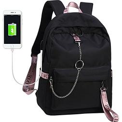 El-fmly Fashion Backpack with USB Port,Casual Lightweight Ba