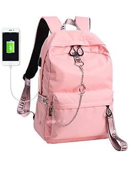 El-fmly Fashion Backpack with USB Port,College School Bags B