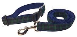 Preston Black Watch Tartan Dog Collar and Leash Set - Black,