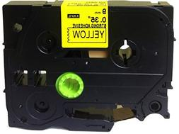 Black on Yellow Extra Strength Label Tape Compatible for Bro