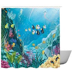 SearchI Cartoon Kids Fabric Shower Curtain Waterproof Blue O