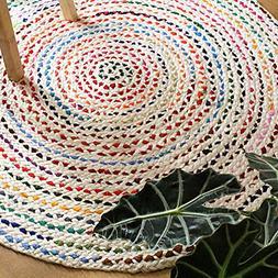 Luxzura Braided Jute & Cotton Chindi Handwoven Reversible Ar