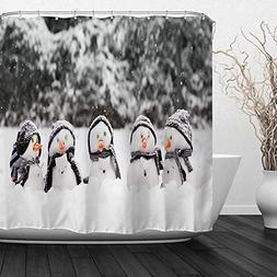 QIYI Christmas Snowman Shower Curtain Mildew Resistant,Anti-