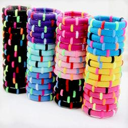 48pcs Colorful Cute Girls Elastic Hair Ring, Large Cotton St