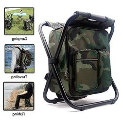 AMERIGUY Cooler Fishing Backpack Chair, Folding Camping Chai