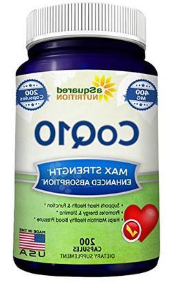 Coq10 200mg 120 Capsules - Extra Strength - Coenzyme Q10 Ubi