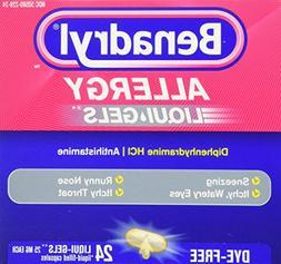 Benadryl Dye-Free Allergy Reliefs, 24-Count Liqui-gels