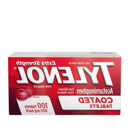 Tylenol Extra Strength Acetaminophen 100 Tablets 500mg Pain