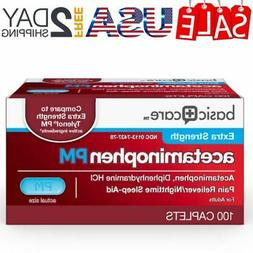 Basic Care Extra Strength Acetaminophen PM Caplets, 100 Coun