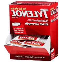 Tylenol Extra Strength Dispenser Box of 50 Pouches - 2 caple
