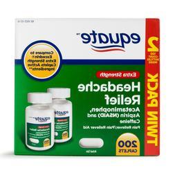 2 pk EQUATE Extra-strength Headache Relief Tabs 100 Pieces