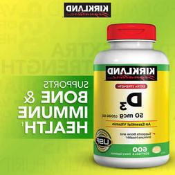 Kirkland Signature Extra Strength VITAMIN D3 2000 IU, 600 So