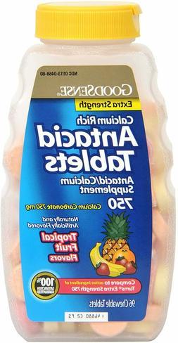 GoodSense Calcium Antacid Extra Strength Tablets, Tropical F