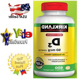 Kirkland Extra Strength Vitamin D3 2000iu  600 Softgels NEW