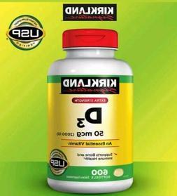 kirkland Extra Strength Vitamin D3 2000iu  600 Softgels New
