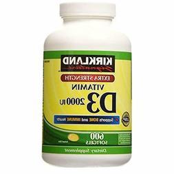 Kirkland Signature Extra Strength Vitamin D3 2000 I.U. 600 S