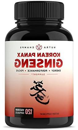 NutraChamps Korean Red Panax Ginseng 1000mg, 120 Vegan Capsu