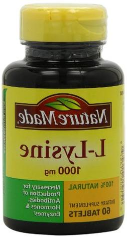 Nature Made L-Lysine 1000mg, 60 Tablets