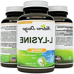 Pure L-LYSINE 500mg - 100 Tablets – Natural Essential Amin