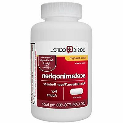 basic care extra strength acetaminophen caplets 500
