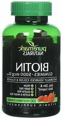 Puremark Biotin Gummies Vegetarian Gummies, 5000 mcg, Strawb