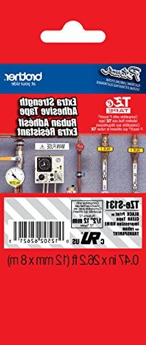 """Brother 1/2""""  Black Print on Clear Extra Strength Adhesive P"""