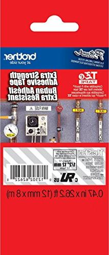 """Brother 1/2""""  White Print on Clear Extra Strength Adhesive P"""