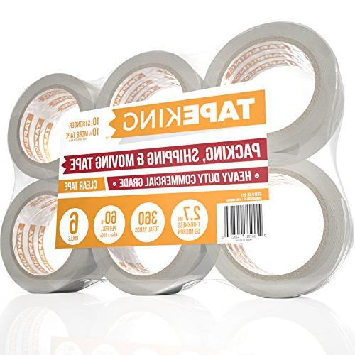 Tape King Clear Packing Tape - 60 Yards Per Roll Pack of 6 R