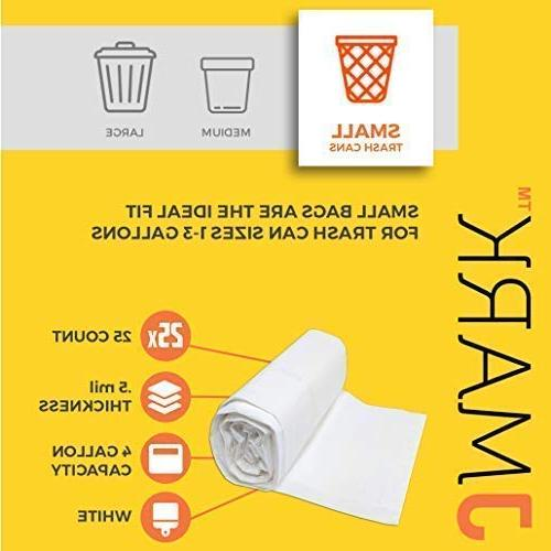 J Extra 1-3 Gallon Trash Name-Brand Unscented Bathroom|Kitchen|Office|Pet Garbage 1 Roll 25