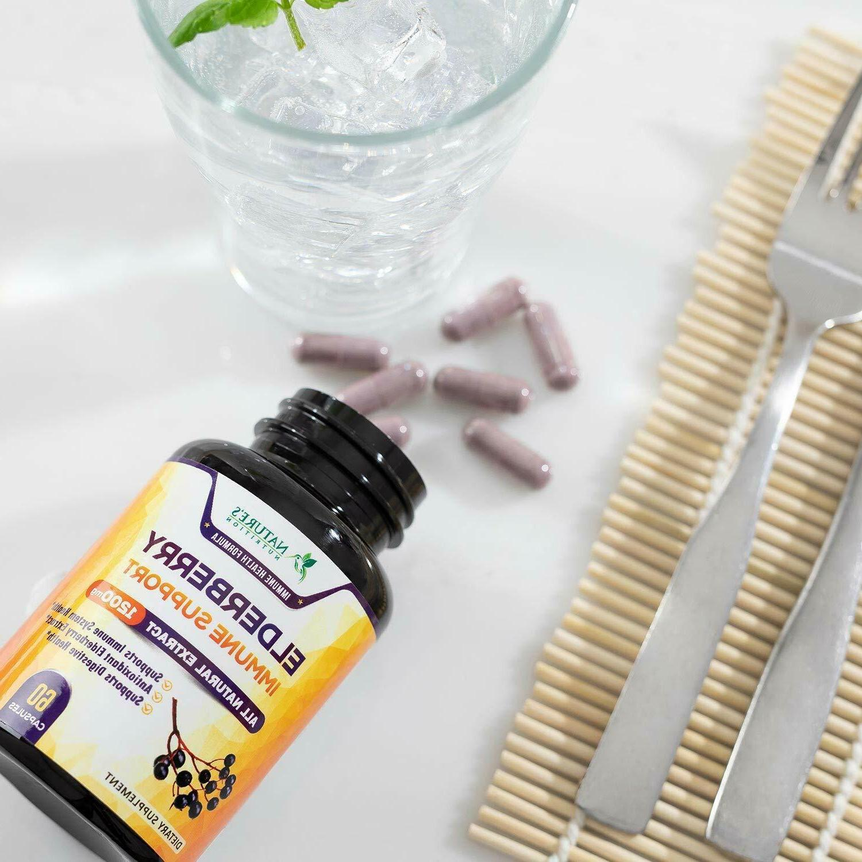 Elderberry Capsules 1200mg Support Supplement