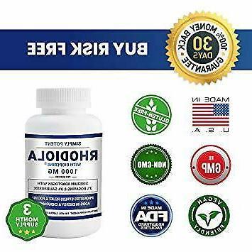 Vegan Rhodiola Bioperine 1000 mg 3 Month Rosvin 3%