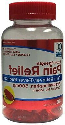 Extra Strength Tylenol Acetaminophen 500mg Pain Reliever 80