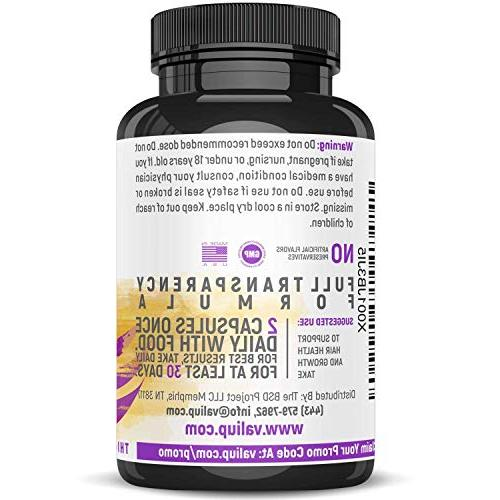 Hair Health Growth Vitamins with & - Veggie Extra Supplement for Longer Nails. Men - Damaged, Thinning Hair Loss Regrowth