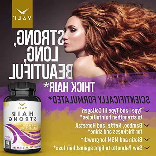 Hair Health Growth with Biotin - 60 Extra Strength Longer Stronger Hair, Skin, Nails. Men - for Thinning Regrowth