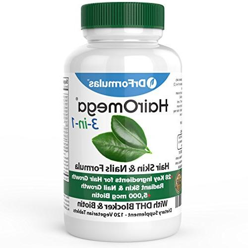DrFormulas Growth with Blocker, Biotin for Women & Men Hair Skin and for Hair Loss, 120 Pills
