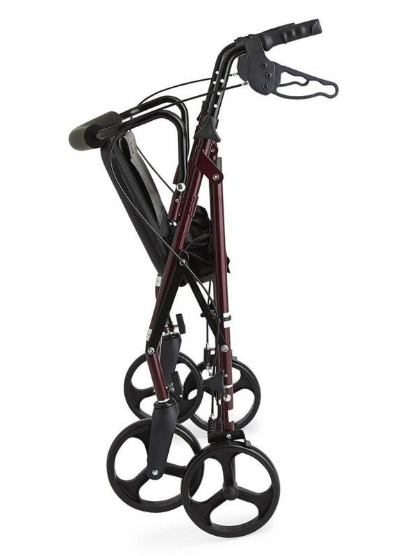 """Heavy Bariatric Mobility Rollator with 8"""" Deluxe Wheels, 500 Capacity"""