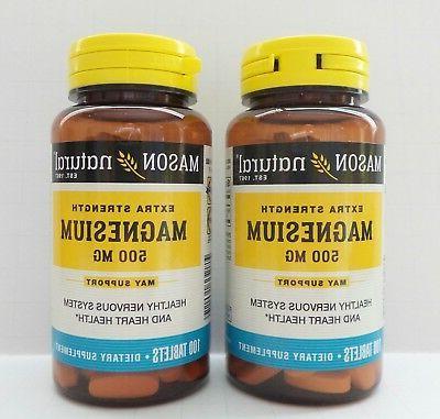 Mason Vitamins Magnesium 500mg Extra Strength Tablets, 100 C