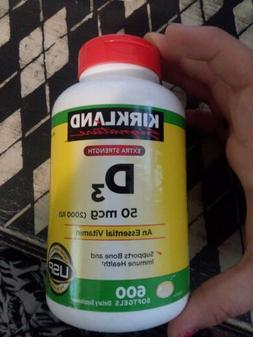 Kirkland Signature Extra Strength Vitamin D3 600 Ea. Exp 10/