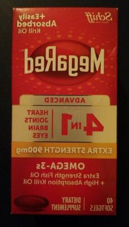 Mega Red Advanced 4 in 1, Extra Strength 900mg. 40 Softgels.