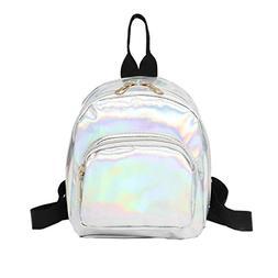 Mysky Women Girl Laser Leather School Bag Satchel Backpack